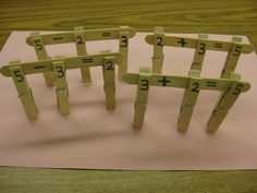 Kids build fact families and work with missing addends while also refining important fine motor skills.  (Free idea!)
