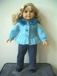 Hand Knit Doll sweater plus jeans