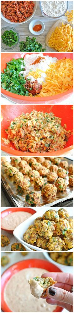 Sausage Balls w/ Chipotle Lime Dipping Sauce #party