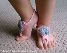 Toddler Barefoot Sandals  By: Lauren for Tutus & Tea Parties           If your kids don't like wearing shoes and socks around the house you can still dress up their feet with these adorable Toddler Barefoot Sandals. This is an easy crochet pattern you can whip up in no time. They would also make fun photo shoots!