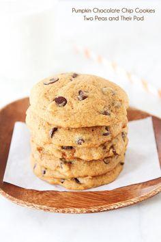 Pumpkin Chocolate Chip Cookie Recipe on twopeasandtheirpod.com The BEST pumpkin chocolate chip cookie recipe!
