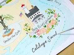 Haig Point  Custom illustrated Wedding Map by JollyEdition on Etsy, $7.00 invit, custom illustr, map illustr, maps, weddings, inspir, wedding map