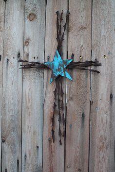 handmade Christian wall decor barbed wire cross by jackrabbitflats, $26.95