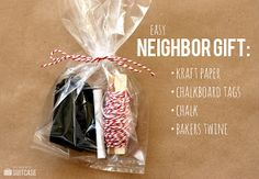 My Sister's Suitcase: Neighbor Gift with DIY Chalkboard Tags