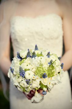 Lovely white, blue and green bridal bouquet for English wedding, photo by Marianne Taylor Photography | junebugweddings.com