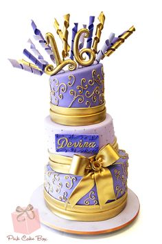 Gold and Purple Sweet 16 Cake for Devina's Sweet 16 Party!