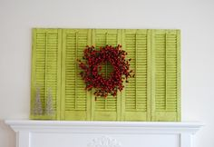 decor, old shutters, color, green, fireplace mantels, hous, mantl, repurposed shutters, christma