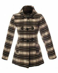 Ladies Checked Duffle Coat, Black Check