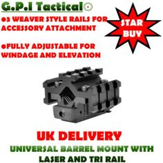 G.P.I TACTICAL - TACTICAL RED LASER DOT SIGHT + UNI BARREL TRI RAIL MOUNT | eBay