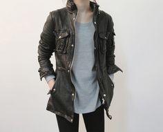 Leather field jacket.
