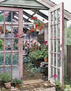 rustic gardens, idea, hanging plants, dreams, outdoor, greenhouses, pink, green hous, garden spaces