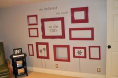 And because my three boys share a room, they need a way to express themselves individually.  I am going to take the empty frames idea, paint them green and blue, go big (one for each boy) and allow them to fill it with smaller framed pictures of whatever they want (so long as the colors look good in the room).  One boy is sports cars, one is his pets, and the other is camping.  All will have some element of outdoors.  :)  Now they are all happy.