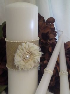 Unity Candle Wrap Set: Rustic Burlap and Pearls on Etsy, $24.50