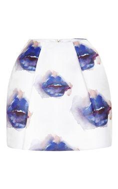 MSGM Printed Duchesse Satin Mini Skirt