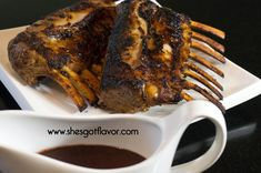 Tender Juicy Roasted Rack of Lamb with Cabernet Sauce | She's Got Flavor
