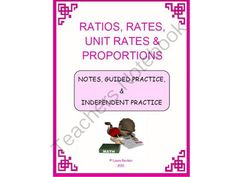 Ratios, Rates, Unit Rates & Proportions Mini Bundle! Enter for your chance to win 1 of 2.  Ratios, Rates, Unit Rates and Proportions Mini Bundle (15 pages) from MATHintheMiddleGrades on TeachersNotebook.com (Ends on on 11-1-2014)  Download contains scaffolded notes, guided practice and independent practice on the following topics: Ratios, Rates, Unit Rates and Proportions. All problems are real life word problems. The proportion examples are done with cross products. I used this after ...