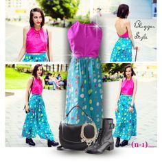 Blogger Style: Keit in Nani Iro outfit with nmeno1 clothes. Top: http://www.nmeno1shop.com/products/genoa-linen-summer-top-fuchsia Skirt: http://www.nmeno1shop.com/products/summer-maxi-skirt-made-in-nani-iro-double-gauze-cotton-coloured-pocho-fabric  #fashion #blogger #summer #maxiskirt #top #polkadot