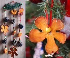 Коледна украса от изсушени портокалови кори