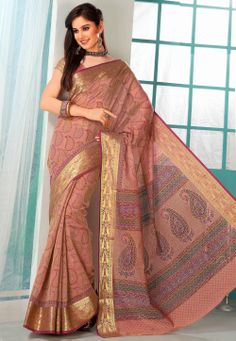 Peach Cotton Saree with Blouse @ $28.41