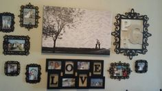 Wall collage using our wedding pictures. Frames are plain wood that I spray painted black. This way we can switch out pictures when we want.
