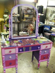 upcycled my Mom's old vanity for my granddaughter.  TammyVitale.com