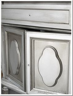 Silver Metallic Night Stands 021a  antique crevices with brushed on, wipe off brownish black.
