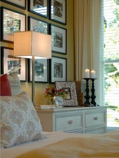 Love the picture frames & how they decorated night stand....How to Combine Home Accessories : Decorating : HGTV