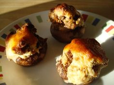 These are the BEST STUFFED MUSHROOMS EVER!  Jimmy Dean Sausage, cream cheese, parmesan... to die for