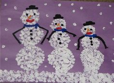Q-Tip Snowmen- winter art project using white paint and Q-tips   TeacherTime123