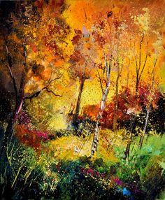 "Saatchi Online Artist: Pol Ledent; Oil, 2012, Painting ""Burning autumn"""