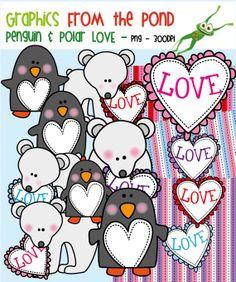 Penguin and Polar Bear Love Clipart
