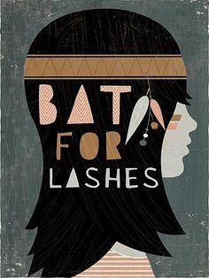 music, graphic, bats, art, gig poster, andrew banneck, lash, design, illustr