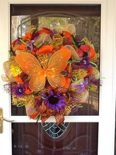 Deco Mesh Butterfly Wreath on Etsy, $115.00