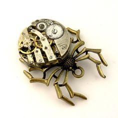 Mechanical Spider Jewelry Pendant Steampunk Watch Movement Black Widow