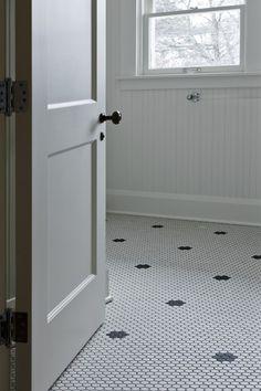 Suzie: Cameo Homes - Vintage bathroom with white vintage hex tiles with black vintage hex inset ...