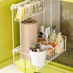 Roll Out the Storage Place your toiletries, cosmetics, or nail care items in a pail to quickly tote where you need them. Hang the pail on the wall near the sink with a plant hanger or place it under the sink if you have a vanity. Keep that under-vanity space organized, too, with a slide-out drawer that uses the entire depth of the cabinet.