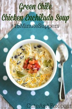 Green Chile Chicken Enchilada Soup with @Matt Valk Chuah Hatch Chile Store #15MinuteSuppers