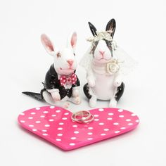Bunny Wedding Cake Topper with Ring Heart Base and Little Bowl Rabbit Lover Gift