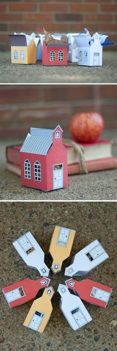 Free Printable: school house gift boxes