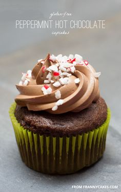 Gluten-Free Peppermint Hot Cocoa Cupcakes hot cocoa cupcakes, sugar free cupcake recipes, hot chocolate, chocolate cupcakes, gluten free, chocol cupcak, peppermint hot, caramel corn, sugar free cupcakes recipes