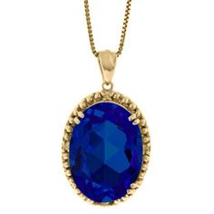 Large Oval Blue Sapphire Gemstone Diamond Pendant In Yellow Gold Available Exclusively at Gemologica.com