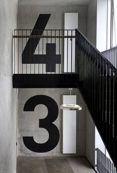 Lovely, bold signage! #wayfinding #signage interior design, house design, stair, graphic, home interiors, office designs, floor, architecture interiors, number
