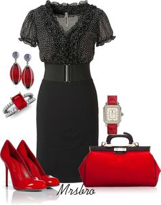 """""""Black with red ...."""" by mrsbro on Polyvore"""