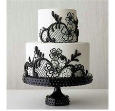 cake choic, lace cakes, beauti cake, cake design, cake decor, blackwhit lace, cake cake, black and red wedding cake, white wedding cakes