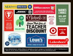 Board Title: TEACHER DISCOUNTS ~ Most Popular Pin on Board (shown) Link: http://www.pinterest.com/pin/212443307394923401/  ***Discounts for stores, resorts and  entertainment are represented on this board. To get teacher resources sent to you once a month, click http://visitor.r20.constantcontact.com/manage/optin/ea?v=001_Sihum3TrbPEDe4tqrPgPA%3D%3D