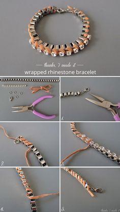 Thanks, I Made It : DIY Suede-Wrapped Rhinestone Bracelet