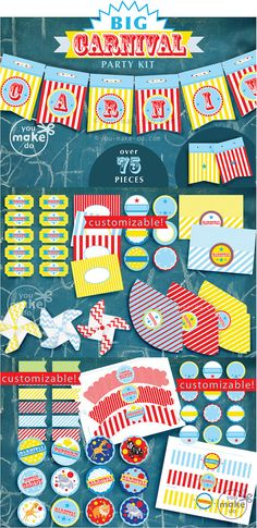 INSTANT DOWNLOAD carnival party, carnival birthday, carnvial party printables, circus party, carnival baby shower, carnival printables