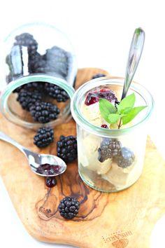 Sweet Corn Ice Cream with Blackberries