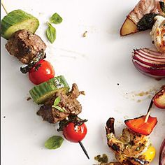 Lamb, Tomato, and Mint Kebabs | Cooking Light #myplate #protein #fruit