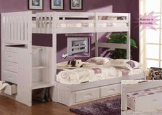 White Staircase Bunk Bed Twin/Full (Stair Stepper)